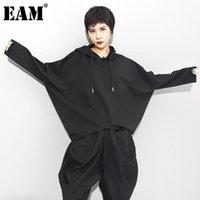 المرأة تي شيرت [eam] المرأة الأسود موجز المتضخم حجم كبير مقنعين طويلة الأكمام batwing الأزياء المد الربيع الخريف 2021 1dc429