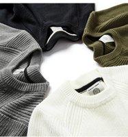 Kuegou Bahar Pamuk Düz Siyah Beyaz Kazak Erkekler Kazak Casual Jumper Erkek Marka Örme Kore Tarzı Giysileri için 18016 201119