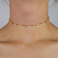 Цепи Женщины Золотой Цвет Тяжелая Связь Цепочка Choker Ожерелье с Радугой CZ Мощеным Баром Форма Подвеска Ожерелья Для Женщин1