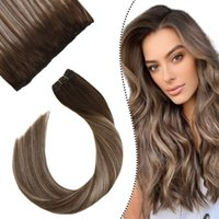 "Human Hair Theft Micro Bead Balayage Balayage Balayage Brown Couleur N ° 4/16 Machine Cheveux Remy 14-24 ""Easy Wey Wear Hair Cheveux 50g"