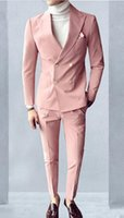 New Style Pink Groom Tuxedos Double-Breasted Groomsmen Wedding Tuxedos Men Formal Dinner Party Prom Blazer Suit(Jacket+Pants+Tie)