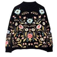 LANMREM col rond Fleurs de broderie Top ample automne automne coréenne manches longues femme New Fashion Pull FA50001 200928