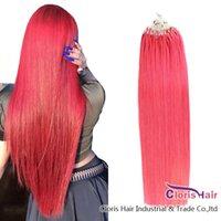 Extrémité épaisse #pink boucle micro bague cheveux 100% extensions de cheveux humains Brésilien Capsule Remy Capsule Kératine Micro Link Bead Cheveux 100 Strands 0.5g / s