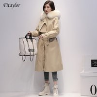 Fitaylor Inverno Long Parkas Mulheres 90% Branco Pato Duck Down Jackets Real Grande Fox Fur Hooded Casaco Quente Neve Outwear 201023