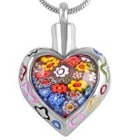 Ijd8367 Murano Glass Femmes Accessoires en pierre Bijoux Heart Crémation Pendentif en acier inoxydable Titulaire du porte-cendres