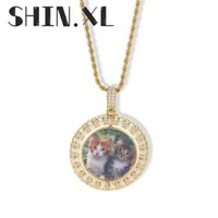 Gold Custom Made Photo With Rotatable Medallions Necklace Pendant 4mm Tennis Chain Cubic Zircon Men's Hip hop Jewelry