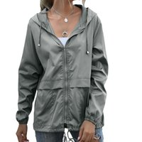 Chaqueta casual estilo moda otoño sudadera con capucha ligera mujer chaqueta con cremallera caminar agua a prueba de agua capa de lluvia delgada