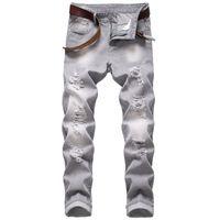 Мужские джинсы высокого качества повседневные разорванные серые стройные прилегающие не растягивающиеся хлопковые ковбои брюки Hommes длинные прямые джинсовые штаны