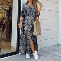 Vestido de fiesta de cuello de solapa de impresión de verano VONDA Mujer elegante botón abajo camisa larga vestido casual manga larga maxi vestido de playa Vestido y0118