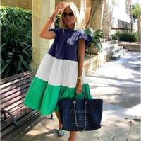 Robe couleur pure d'été Boho O Neck femmes élégante robe à volants Vestidos 2020
