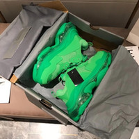 Designer Sapatos Green Triple S Sneakers Clear Sole Trainers para Mulheres Homens Luxo Vovô Instrutor Vintage Paizinho Sapatos Clear 17Color Grande Tamanho