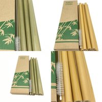 Verde de bambú Phyllostachys heterocycla de paja natural 20cm del hotel Las bebidas pajas con el cepillo leche Tea Shop 8 F2 9NT