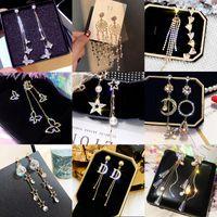 Personalidad coreana Personalidad Pendientes de borla de perlas Largo Cristal Pendientes Pendientes Joyería Moda Mujer Boda Joyería S925 Aguja de plata