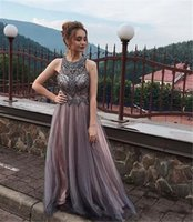 Gorgeous crystal beaded elegant evening formal dresses amazing tulle long Party prom dresses custom made Evening Wear bridal gowns