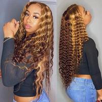 Hashow Highlight 4/27 Волны для тела Человеческие парики для волос 28 34 40 дюймов коричневый Омбер Цвет Глубокий 4x4 прямой кружевной фронт передние, предварительно сорванные для женщин все возрасты