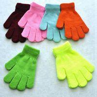 Enfants d'hiver Gants solides bonbons de couleur Garçon Fille acrylique Gants enfants chaud doigt tricotée extensible Mitten étudiants extérieur Gant cadeau RRA3789