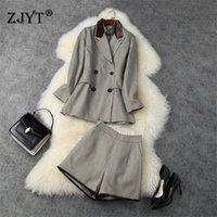 Autumn Winter Work Outfits Women Fashion Designers Vintage Plaid Notched Blazer+Blouse+Shorts Suit 3 Piece Clothing Sets T200916