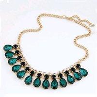 IPARAM 2019 Новая Мода Ювелирные Изделия Зеленое Кристалл Ожерелье и Подвеска Мода Высокое Модное Ожерелье