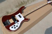 Livraison Gratuite 4 cordes 4003 Guitare de basse électrique, cou d'érable à travers le corps, corps de bois rouge brun, basse rickb, livraison gratuite