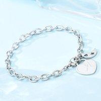 Charm Armbänder 1 stück Armband 26 Buchstaben Mondherz Edelstahl Geschenke für Männer (Alphabet A) 1