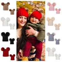 بوم بوم كرات الكروشيه بيني مضلع حك إمرأة قبعة الشتاء 0-3 سنوات الرضع اطفال اطفال طفل قبعات الجمجمة Tuque بنات أغطية الرأس E101904