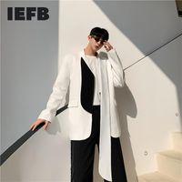 IEFB Новый мужской дизайн ткани Нерегулярный черный белый цвет лоскутный костюм Пальто 2021 ленты костюм мужская асимметричная куртка 9Y530