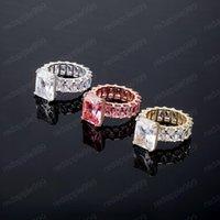 Rose Gold Bling Baguette 18K zircons Femmes Bague Glacé à diamants Bagues Hip Hop Bijoux Cadeaux pour dames
