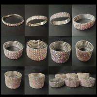 Filas 1-10 AB Crystal Rhinestone pulsera plateada plata de lujo de la joyería del banquete de boda del brazalete de las pulseras de alta calidad nupcial para la mujer