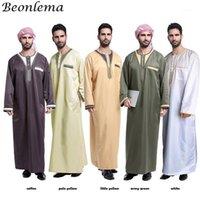 Etnik Giyim Beonlema Başörtüsü Elbise Müslüman Yetişkin Arapça Abaya Button Jubah Kaftan İslam Hombre Erkekler Suudis Arabistan Thobes Vestido1