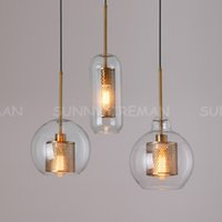 LOFT Pendentif moderne Boule de verre Lampe suspendue Pendentif Cuisine Pendentif Luminaire Dîner Hanglamp Salon Luminaire Landeliers