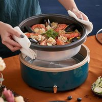 220V 4L 가정용 전기 냄비 비 스틱 멀티 밥솥 내부 냄비 이동식 온수 프라이팬 요리 기계 쉬운 청소 1