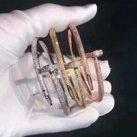 مسمار أساور النساء 18 كيلو مطلية بالذهب الحب الإسورة سوار كامل الماس سوار مجوهرات للهدية 16.5cm no box