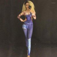 Bühnenabwehr Jeans vorgegebener Jumpsuit Sexy dünne dünne Stretch Bodysuis Leistung Kostüm Lady Prom Birthday Feiern Outfit DNV102921