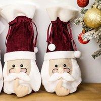عيد الميلاد سانتا غطاء زجاجة مع النظارات الأحمر النبيذ زجاجة الشمبانيا الملابس يغطي طيف النبيذ حقيبة حزب عيد الميلاد الديكور IIA681