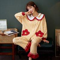Kadınlar için Nightwa Kış Pijama Pijama Pamuk Bayan Pijama Set Uzun Kollu + Pantolon Ekose Gecelikler Hırka Pijama Pijama 201029