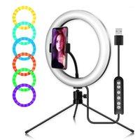 "Flaş Kafaları 5Options RGB LED Işık 10 ""Halka Ringlight Işık + Tripod Makyaj Canlı Streaming Vido Çekim Selfie Yaratıcı POTRAGY1"
