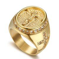 Hip Hop Jewelry helado Out Jesús Cross Anillo Color de oro Anillos de acero inoxidable para hombres Joyas religiosas Dropshipping Bague Homme S