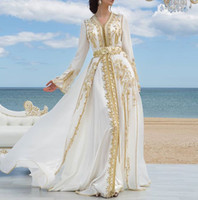 Mousseline de soie blanche Robes de soirée formelle de luxe Dentelle doré Approplique marocain Kaftan Dubaï Robe mère arabe musulmane musulmane occasion