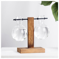 독창적 인 꽃병 패션 나무 프레임 수경 유리 투명 데스크탑 장식품 화분 식물학 새로운 화병 새로운 도착 10 8sy3 K2