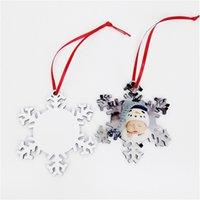 2020 Sublimation Snowflake Ornaments Termisk överföring Utskrift Blank DIY XMAS Hängsmycke Dubbel sidor Stämpling MDF Trä Hang PENDENS F92601