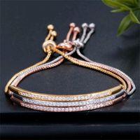 Originalidade pulseira delicada microinlay zircon cristal linha única arco ajustável moda jóias mulheres cadeia braceletes 3 18zx k2b