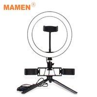 플래시 헤드 Mamen 6/8/10 인치 LED 데스크탑 비디오 링 라이트 메이크업 Selfie 램프 삼각대 스탠드 youtube 라이브 첨탑을위한 USB 플러그