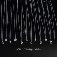 Anenjery ins Full Zircon A~Z 26 English Letters Pendants Necklaces For Women 925 Sterling Silver Necklaces Chain S-N364