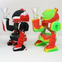 Nouveau Silicone Bong Robot Design Recycleur DAB Percolateur Percolator Bong Protéger Boffes Mini Bubble Bubbler Tuyaux d'eau