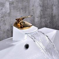 غسل حوض نحى مطلي صنبور شلال حمام صنبور واحد مقبض حوض حوض الاستحواث العتيقة النحاس بالوعة