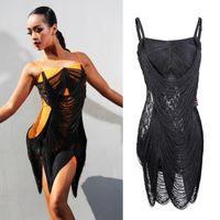 무대 착용 라틴 댄스 드레스 섹시한 스트랩 술 드레스 경쟁 댄스웨어 성인 탱고 살사 삼바 춤 여성 의류 DN3552