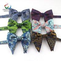 Polyester Büyük Bowties Damat Erkek Paisley Yumuşak Cravat 12 * 11cm Çift Katmanlar Kelebek Gravatá Erkek Düğün Kadınlar Bow Kravatlar