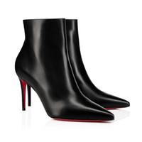 """Acentuadas atractivas-Toe Botas mujer, rojo de lujo de fondo tacones altos, la nueva temporada """"S-k * t botín"""" Estilo Para las mujeres delicadas bota del tobillo de los botines cortos"""