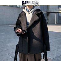 KAPMENTS Korean Men Belt Wool Coat 2020 Trench Coats Mens Winter Coat Fashions Designer Male Casual Black Jackets Coats