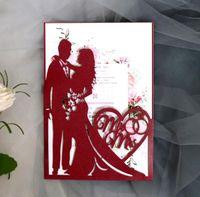 Biglietti Greeting 1pcs Sposa e sposo Hollow Laser tagliati a matrimonio Inviti di nozze Carta Decorazione di San Valentino Decorazione Forniture per feste